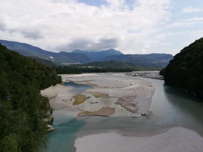 Il Taglianento visto dal ponte di Pinzano